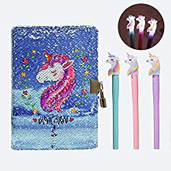Blue Unicorn In Sequin Girls Diary with Lock & Glitter Gel Pens Set