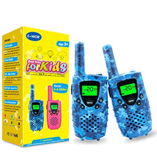 Walkies Talkies for Kids, 22 Channels FRS/GMRS UHF Two Way Radios 4 Miles Handheld Mini Kids Walkie Talkies for Boys Girls Best Gifts Kids Toys Built in Flashlight, 1 Pair (Camo Blue)