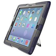 ShockWave Ultra-Protective Rugged New 2017 iPad 9.7 case with stand and screen protector, by UZBL (Dark Blue)