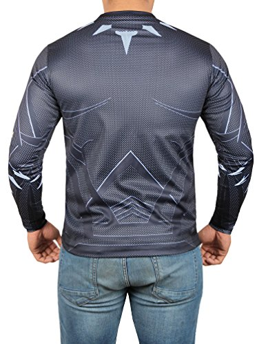 Black Panther Costume Sport Shirt - Mens Adult Long Sleeves T Shirt by Miracle (Medium)
