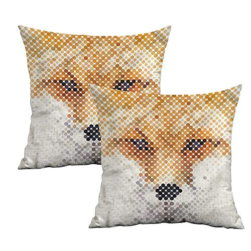 (Khaki home Animal Square Personalized Pillowcase Pixel Dots Wild Fox Portrait Square Pillowcase Covers with Zipper Cushion Cases Pillowcases for Sofa Bedroom Car W 20