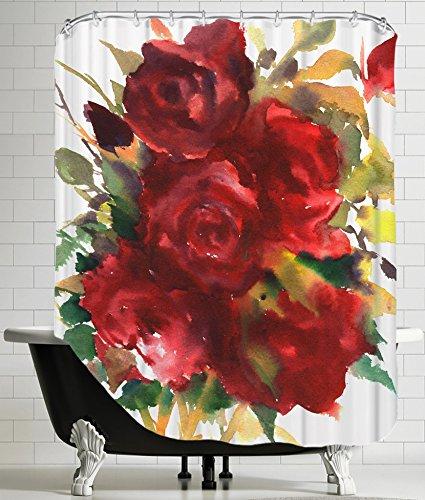 "American Flat ""deep Red Roses"" Shower Curtain by Suren Ne..."