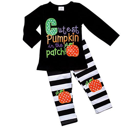 So Sydney Girls Halloween Pumpkin, Candy, or Cat - 2 Piece Ruffle Pants Outfit (M (4T), Cutest (Cat Outfit)