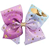 JoJo Siwa Signature Collection Hair Bow - Blue, Purple with Gold Mermaid Stars