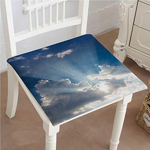 (Mikihome Chair Pads Classic Design Big Sunbeam Coming Out of Clouds Sunny Day Overcast Sky Scenic Blue White Cotton Canvas Futon 24