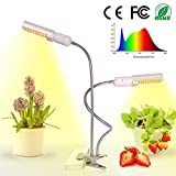 LED Grow Light for Indoor Plant, Relassy 45W Sunlike Full Spectrum Grow Lamp, Dual Head Gooseneck Plant Ligh with Replaceable Bulb,Double Switch, Professional for Seedling Growing Blooming Fruiting