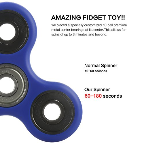 Fidget Hand Spinner,Vafru 360 Degree Rotation Fidget Tri Spinner Hand Toy Kit for Relieving ADHD, Anxiety, Boredom Spins - 4
