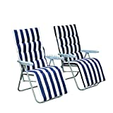 WestWood 2 Adjustable Foldable Sun Reclining Recliner Chairs Garden Outdoor Relaxer Lounger With Cushion FH-SR01 Blue