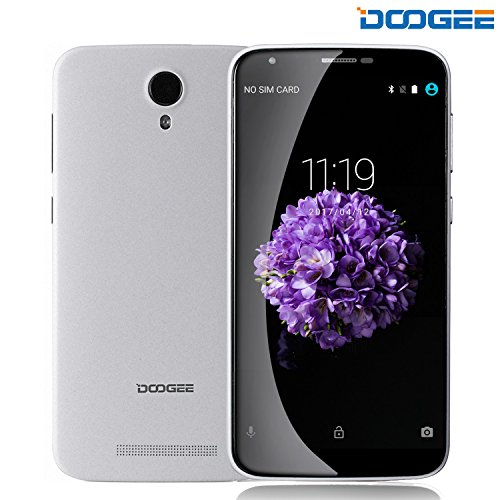Smartphone ohne vertrag, DOOGEE Y100 PLUS Dual Sim Android Handy MT6735 processor, 5.5 Zoll IPS Display, 5MP + 13MP Flash Kamera - GPS OTG Supported - 3000mAh Battery (Weiß)