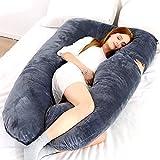Almohada de embarazo Almohada de cuerpo completo en forma de U y soporte de maternidad con extensión desmontable…