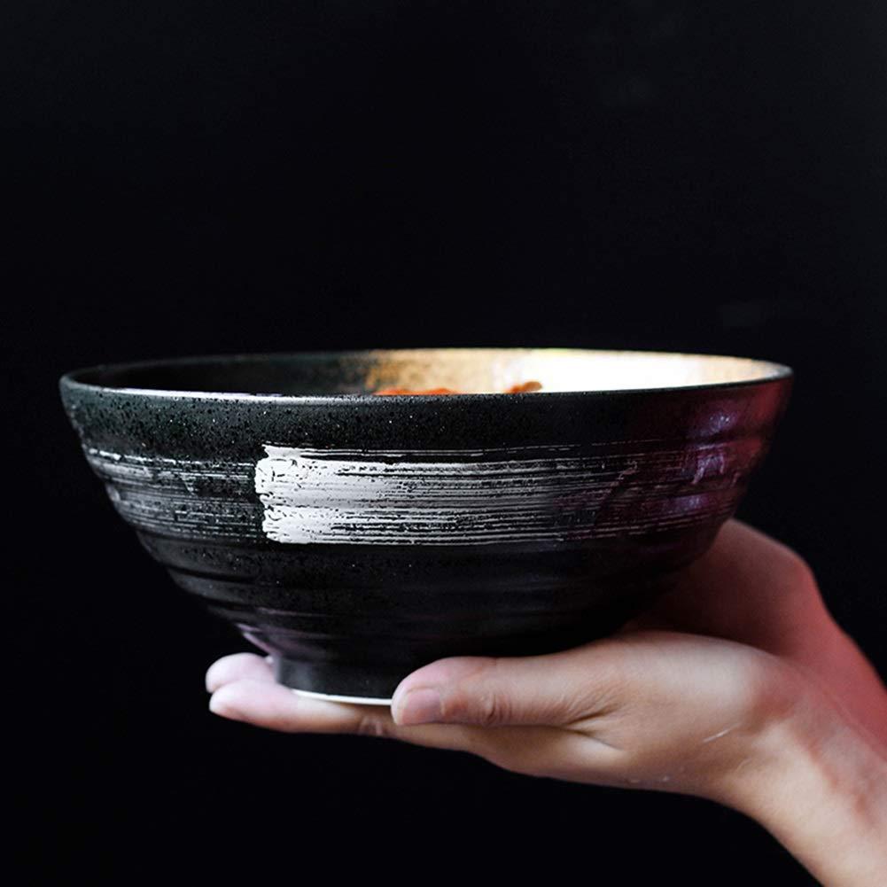 LMFLY Bowl Taz/ón de Cer/ámica,Estilo Japones Vintage Creativo Cer/ámica Cuenco de Ensalada Personalidad Taz/ón de Sopa Profunda de Ramen Tama/ño: 7.5 Pulgadas