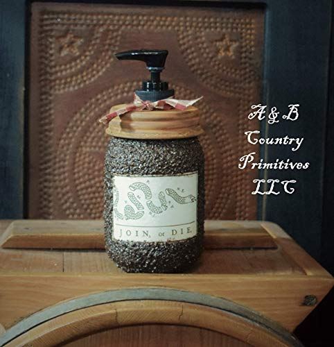 Primitive Colonial Americana Themed Grubby Soap & Lotion Dispenser Jar with Custom Label (Join or Die), Rusty Lid, and Decorative ()