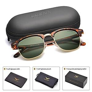 LUENX Men Clubmaster Polarized Sunglasses Women UV 400 Protection Grey Green Lens Tortoise Retro Classic Frame 51MM ,with Case