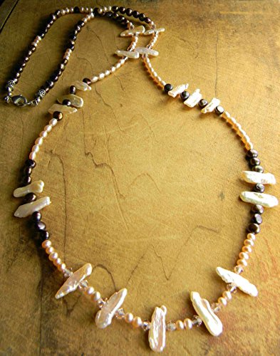 Keishi Stick Pearl Necklace Sterling (Pearl Bisque)