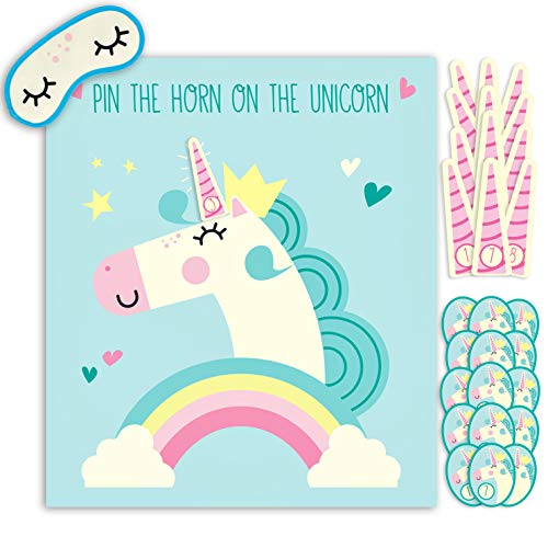 Hugo & Emmy Pin the Horn on the Unicorn Party Game for Birthday Parties and Sleepovers, Ideal for Kids and Toddlers -
