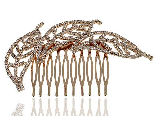 Gold Genuine Crystal Rhinestone Leaf Trio Fashion Jewelry Hair Clip Comb (Genuine Crystal Barrette)