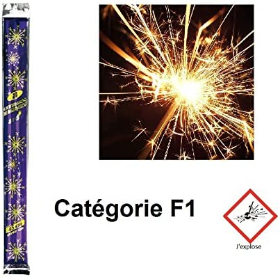 Lote de 4 bolsita de 8 cierges Bengala efecto oro 45 cm Cat. F1 – Vela fiesta cumpleaños Gateau – 094: Amazon.es: Hogar