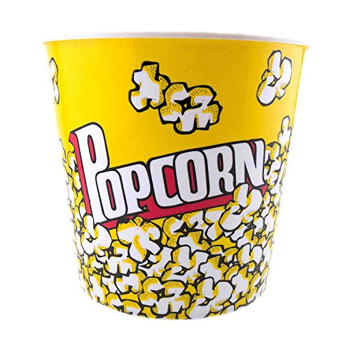 Adorox Plastic Movie Theater Style Popcorn Tubs Bowls Set (Yellow (3 Tubs))