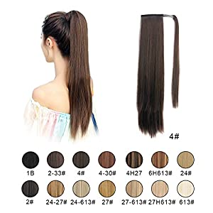 "BARSDAR 26"" Long Straight Wrap Around Synthetic Ponytail Clip in Hair Extensions One Piece Hairpiece Binding Pony Tail Extension for Women Lady Girl (4# Dark Brown)"