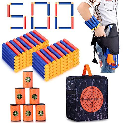 Refill Darts Kit for Nerf, 500PCS Refill Soft Tip Bullets,Waist Pack,Soft EVA Target and Storage Bag for Kids Nerf N-Strike Elite Series. Christmas Role Play Nerf Battle Game Gift for Children