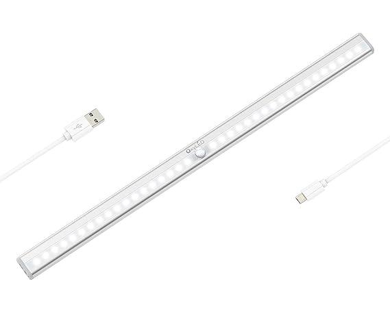 OxyLED Luces de sensor de movimiento,36 LED Luz de armario recargable USB, Barra