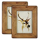 icheesday 5×7 Picture Frames(set of 2)- Rustic Handmade Solid Wood Home Decor Photo Frame with Real Glass – Wall Hanging and Table Standing Review