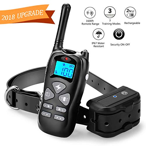 Cheap Shock Collar for Dogs, Rainproof and Rechargeable Dog Training Collar, Dog Shock Collar with Remote 1600ft Range, Beep, 100 Levels Vibrate and Shock Collar for Large Dogs and Small Dogs