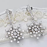 EleQueen 925 Sterling Silver Full Prong Cubic Zirconia Winter Snowflake Bridal Drop Earrings
