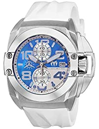 Men's Black Reef Stainless Steel Quartz Watch with Silicone Strap, White, 27 (Model: TM-518008)