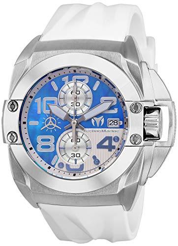 Technomarine Men's Black Reef Stainless Steel Quartz Watch with Silicone Strap, White, 27 (Model: TM-518008)