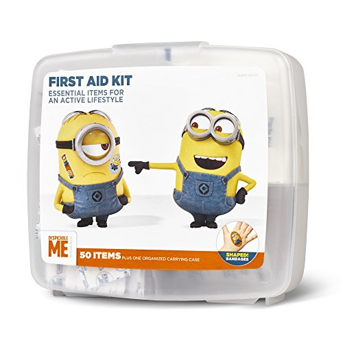 Despicable Me First Aid Kit for Kids with Fun Shaped Bandages | Includes 50 Items Plus One Organized Carrying Case