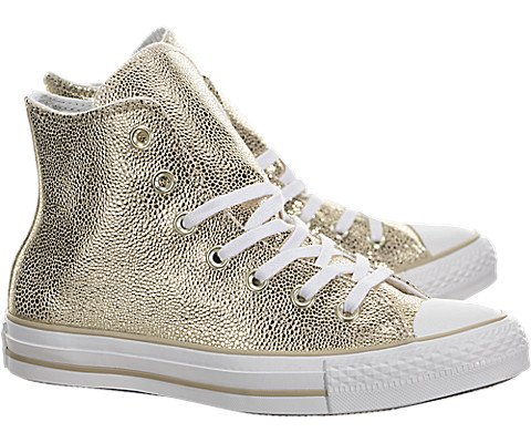 Converse Womens Chuck Taylor All Star Stingray Metallic Hi Top Gold/Black/White Sneaker - 7