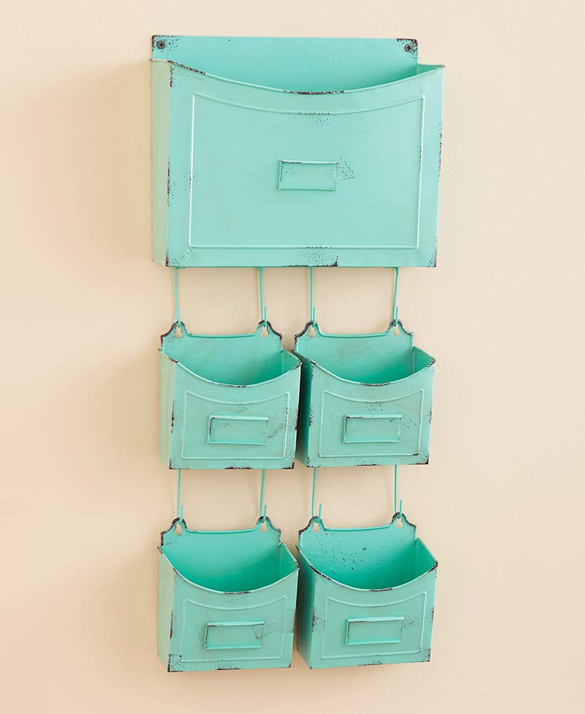 5-Pc. Rustic Metal Wall Organizers Choice of Aqua Silver or Bronze Craft Office (Aqua) by Better Home Space