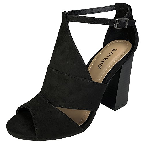 Bamboo Women's Peep Toe Chunky Heel Sandal