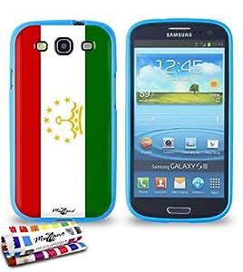 Carcasa Flexible Ultra-Slim SAMSUNG I9300 de exclusivo motivo [Tayikistan Bandera] [Azul] de MUZZANO  + ESTILETE y PAÑO MUZZANO REGALADOS - La Protección Antigolpes ULTIMA, ELEGANTE Y DURADERA para su SAMSUNG I9300