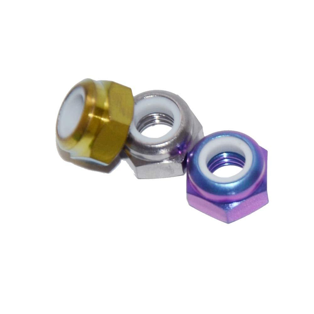 Nuts DIN985 M12 Titanium Nylon Lock Hexagon Nuts Titanium Screw Cap with Flange Race Spec for RC Buggy Rac Ti Nuts - (Size: M10 1.5 Pitch, Color: Royal Purple)