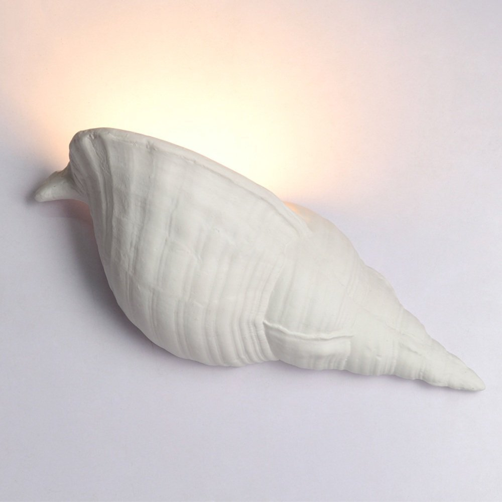 HOMEE Wall lamp- mediterranean cartoon children's room conch led gypsum wall lamp male girl room bedroom bedside living room wall lamp (color optional) --wall lighting decorations,B