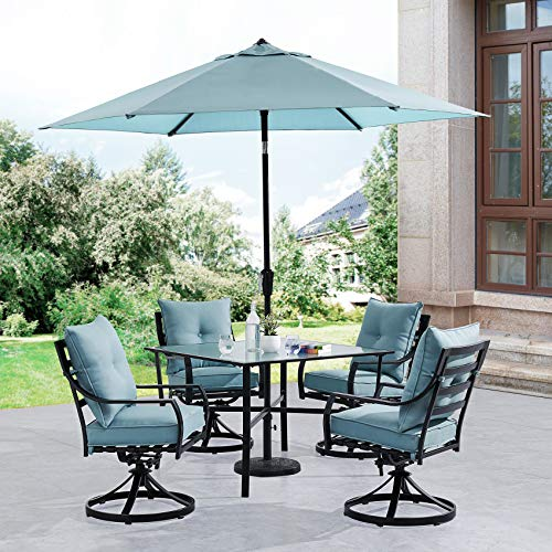 Hanover LAVDN5PCSW-BLU-SU Lavallette 5-Piece Ocean Blue with 4 Swivel Rockers, 42-in. Square Glass-Top Table, Umbrella, and Base Outdoor Dining - 42 Glass Inch Square Top