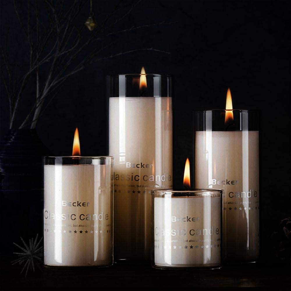 Tabletop Protection Decoration for Kitchen Living Room Date Party 2.510 【Premium】 Open Ended Glass Candle Covers Clear Hurricane Candle Holder Glass Chimney Tube