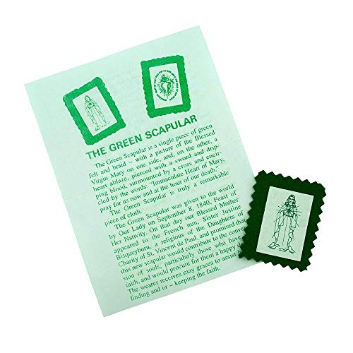 VILLAGE GIFT IMPORTERS Genuine Homemade Scapulars | 100% Real Wool | 6 Styles | Made in The USA | Durable and Beautiful Quality | Christian Jewelry (Green Scapular Badge)