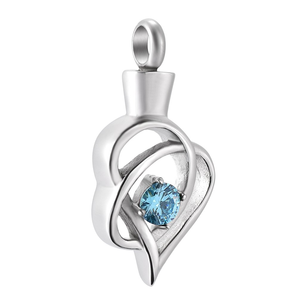 CZ Stone Inlay Stainless Steel Memory Ashes Keepsake Cremation Necklace Ashes Charm Pendant Constanlife Jewelry 9105