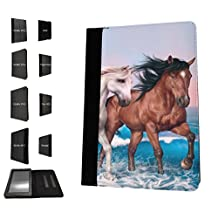 002403 - Cute Horses Fun Love Playful Horses Design Amazon Kindle Fire 7'' 5TH Generation (2015 Release Only) Fashion Trend TPU Leather Flip Case Protective Purse Pouch Book Style Defender Stand Cover