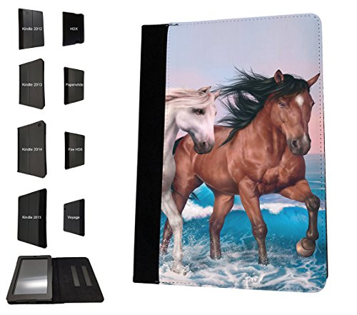 002403 - Cute Horses Fun Love Playful Horses Design Amazon Kindle Fire HD 10 (2017) Flip Case Purse pouch Stand Cover