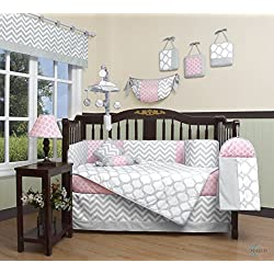 GEENNY Boutique Baby Girl's 13 Piece Crib Bedding Set, Salmon Pink/Gray Chevron