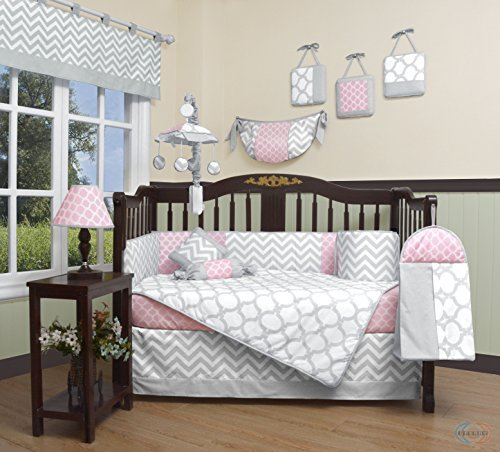 GEENNY Boutique Baby 13 Piece Crib Bedding Set, Salmon Pink/Gray (Crib Bedding Sets For Girls Pink)