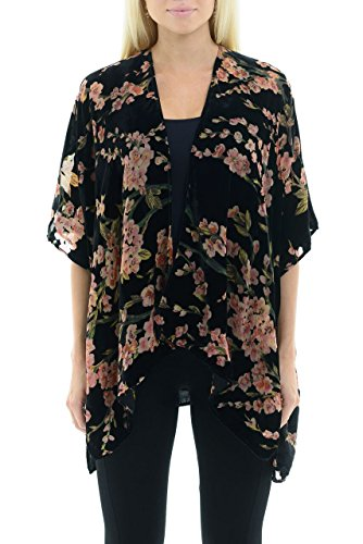 Velvet Floral Kimono Cardigan