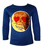 Emoji Clothes for Kids KIDS EMOJI EMOTICON SMILEY FACE TOPS TEE TOP BRUSH CHANGING SEQUIN NEW AGE,11-12 Years,Navy