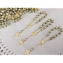 25 Pc Baptism Favors Mini Rosaries Gold Plated/ Recuerditos De Bautismo/ Christening Favors/ Decenarios/ Decades/ Finger Rosaries