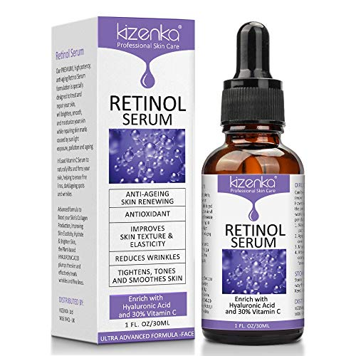 Retinol Face Serum, Anti Aging Serum for Sensitive Skin, Face Serum with Hyaluronic Acid and Vitamin C, Formulated to Reduce Wrinkles, Fade Dark Spots and Treat Under, Brighten Your Skin Face 30ml