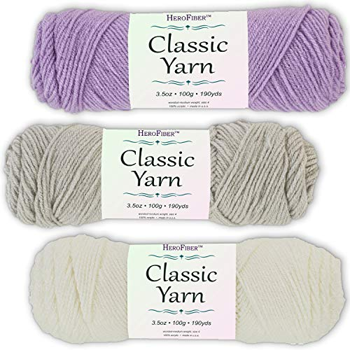(Soft Acrylic Yarn 3-Pack, 3.5oz / Ball, Light Lavender + Silver Grey + Coconut White. Great Value for Knitting, Crochet, Needlework, Arts & Crafts Projects, Gift Set for Beginners and pros Alike)